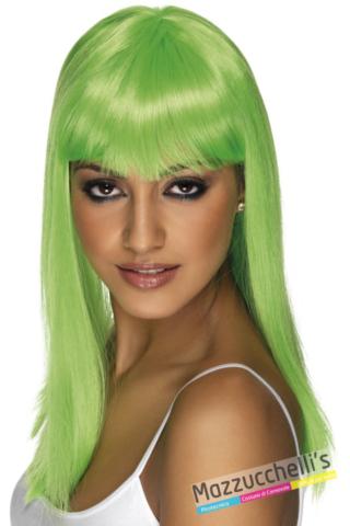 PARRUCCA verde LUNGA CON FRANGETTA - Mazzucchellis