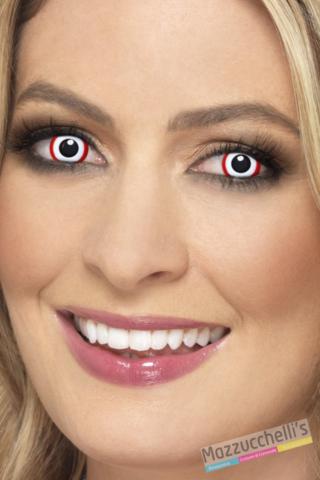 lenti a contatto bianche con bordo rosso Carnevale halloween e altre feste a tema- Mazzucchellis
