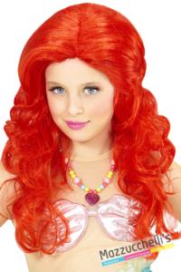 parrucca lunga mossa rossa ariel sirenetta bambina - Mazzucchellis