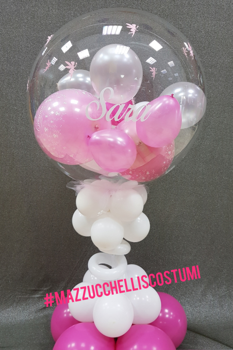 centrotavola bubble cresima rosa con scritta sara con fantastiche decorazioni di trilly - Mazzucchellis