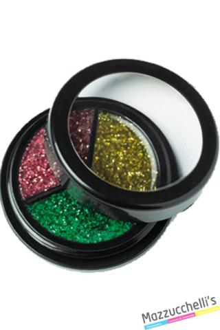 Crema glitter per un aspetto brillante nei colori oro, verde e rosa carnevale halloween feste a tema - Mazzucchellis