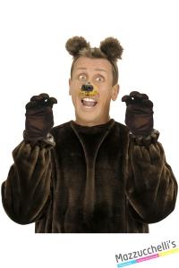 GUANTI CORTI MARRONI orso cane carnevale halloween o altre feste a tema- Mazzucchellis