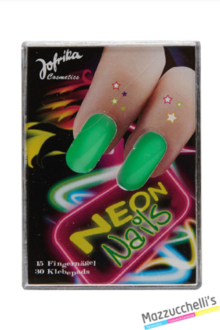 unghie neon verdi anni '80 carnevale halloween feste a tema - Mazzucchellis