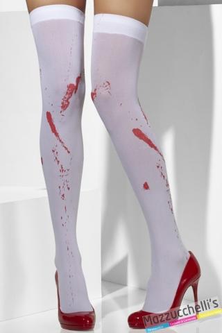 CALZE PARIGINE BIANCHE CON SANGUE zombie carnevale halloween e altre feste a tema - Mazucchellis