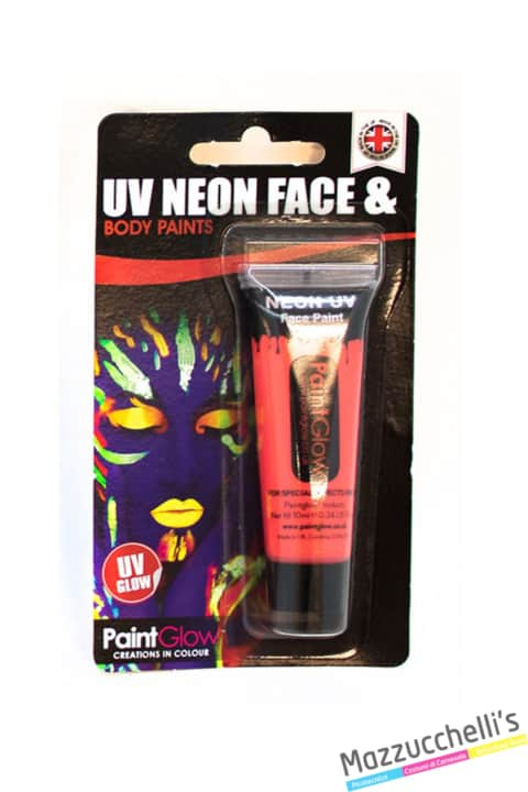 trucco make-up rosso uv neon face e body paints carnevale halloween e feste a tema - Mazzucchellis