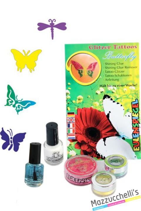 kit tatuaggi glitter farfalla carnevale halloween e altre feste a tema - Mazzucchellis