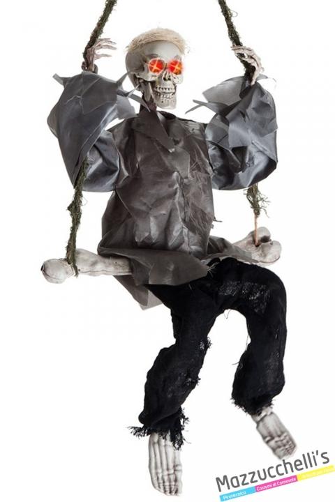 SCHELETRO allestimento d'appendere su altalena con movimento horror halloween carnevale - Mazzucchellis