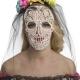 cerchietto con rose e velo da Day of the Dead il giorno della morte halloween horror carnevale - Mazzucchellis