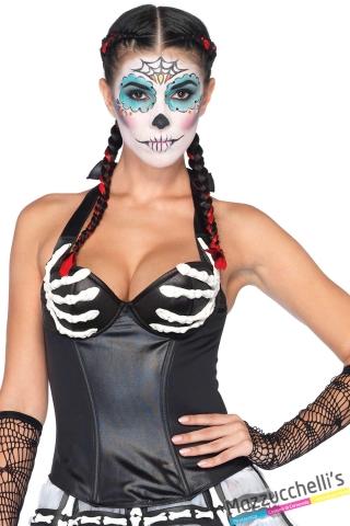 corsetto bustino scheletro carnevale halloween o altre feste a tema - Mazzucchellis