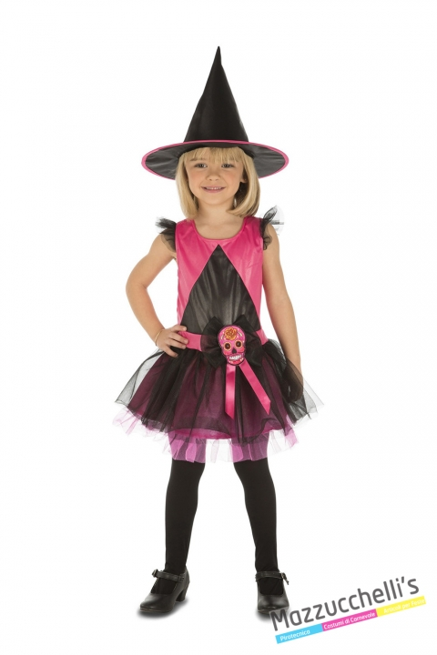 costume strega rosa bambina carnevale halloween o altre feste a tema - Mazzucchellis