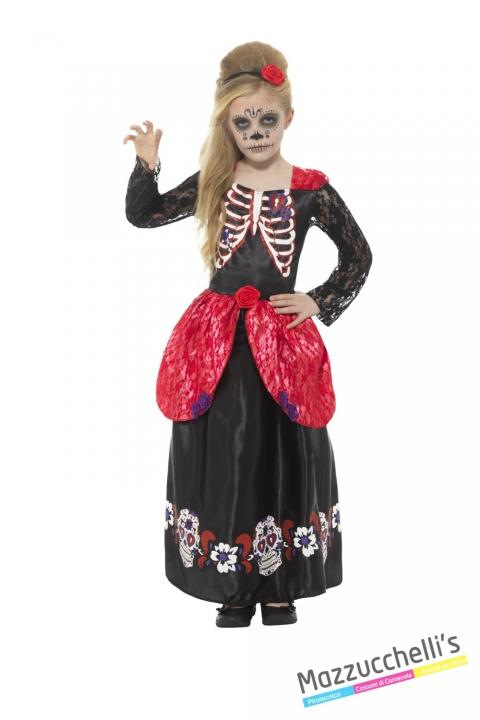 COSTUME bambina day of the dead il giorno dei morti messicano CARNEVALE HALLOWEEN O ALTRE FESTE A TEMA - Mazzucchellis