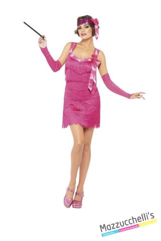 COSTUME donna chalreston anni '20 rosa CARNEVALE HALLOWEEN O ALTRE FESTE A TEMA - Mazzucchellis
