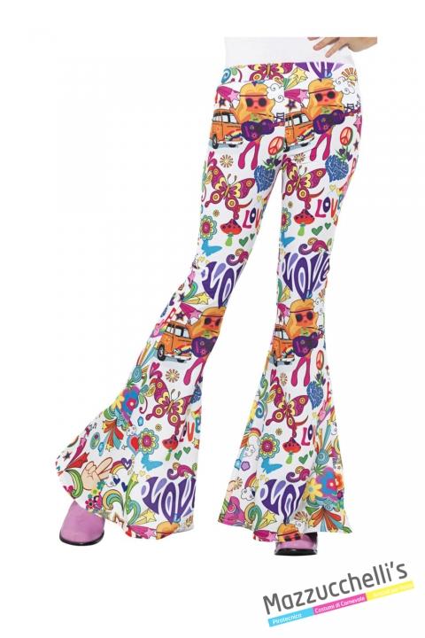 COSTUME donna pantaloni hippie peace & love hippie figlia dei fiori anni '60 '70 CARNEVALE HALLOWEEN O ALTRE FESTE A TEMA - Mazzucchellis
