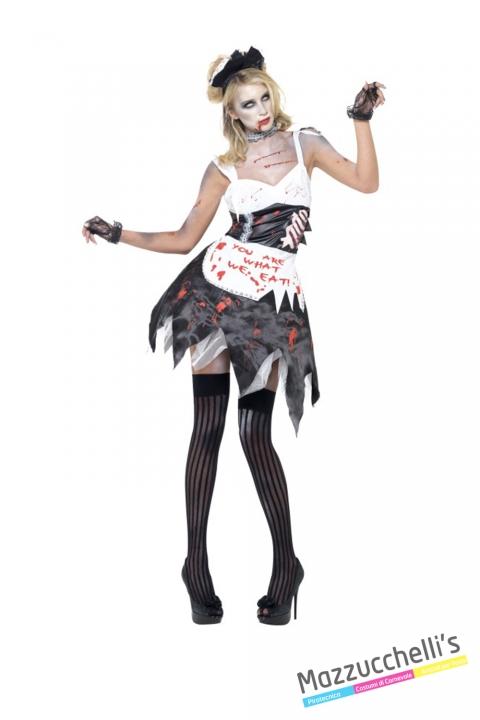 COSTUME donna sexy cameriera horror zombie insanguinata lavori mestieri CARNEVALE HALLOWEEN O ALTRE FESTE A TEMA - Mazzucchellis
