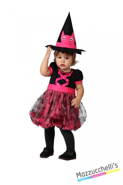 costume bambina neonata strega rosa carnevale halloween o altre feste a tema - Mazzucchellis