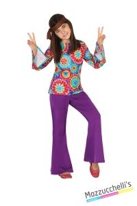costume bvambina hippie figlia dei fiori anni 60 70 carnevale halloween o altre feste a tema - Mazzucchellis