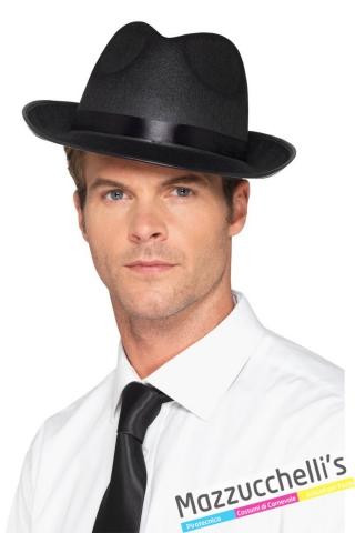 cappello gangster mafioso Anni '20 in fedora Carnevale Halloween - Mazzucchellis