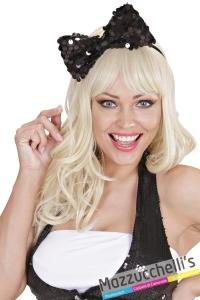 cerchietto fiocco nero lady gaga madonna bambola carnevale halloween - Mazzucchellis