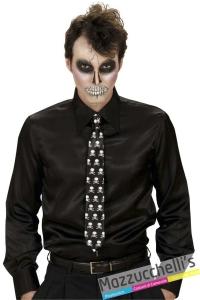 cravatta con teschi da scheletro look spaventoso halloween carnevale e altre feste a tema - Mazzucchellis 1