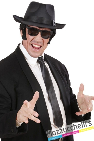 cravatta nera gangster anni '20 agente segreto carnevale halloween - Mazzucchellis