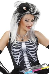 mini cappello con velo e scheletro halloween carnevale altre feste a tema - Mazzucchellis