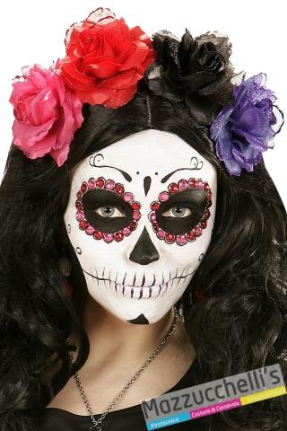 molletta rosa nera Day of the dead il giorno della morte carnevale halloween - Mazzucchellis