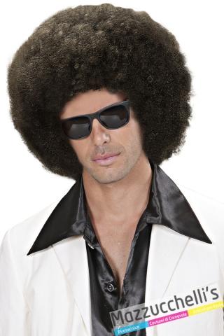 parrucca afro riccia castana popoli del mondo anni '60 '70 hippie carnevale halloween altre feste a tema - Mazzucchellis