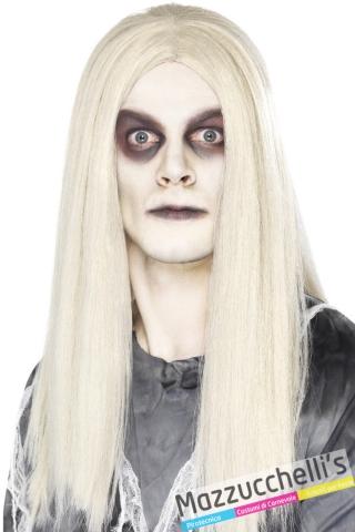 parrucca bianca liscia lunga halloween horror zombie - Mazzucchellis