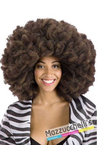 parrucca-afro-castana-50cm---Mazzucchellis