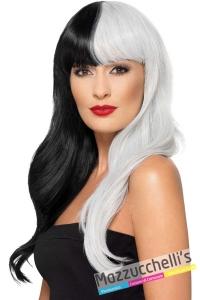 parrucca-liscia-lunga-bianca-e-nera-crudelia-cartone-disney---Mazzucchellis